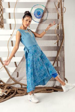 Sea ash Linen Printed Fusion Kurti; Handicrafts; Kay Kraft; Bangladesh; Fashion; Textiles; Bangladeshi Fashion