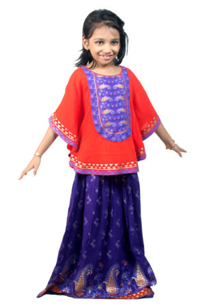 Red Linen Printed Poncho with Skirt for Junior Girls